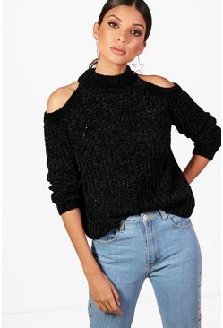 Womens Black Tall Cold Colder Chenille Jumper
