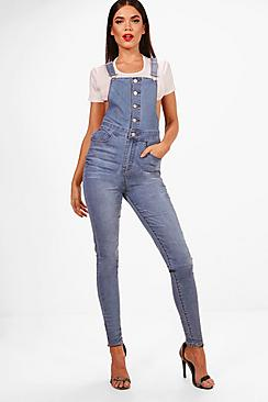 Tall Rachel Button Through Denim Dungarees