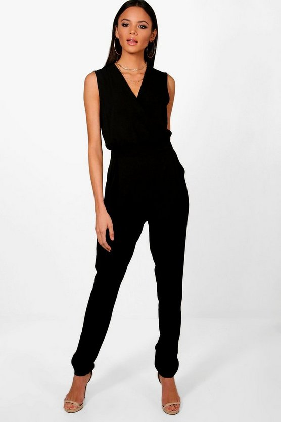 Womens Black Tall Wrap Front Woven Jumpsuit
