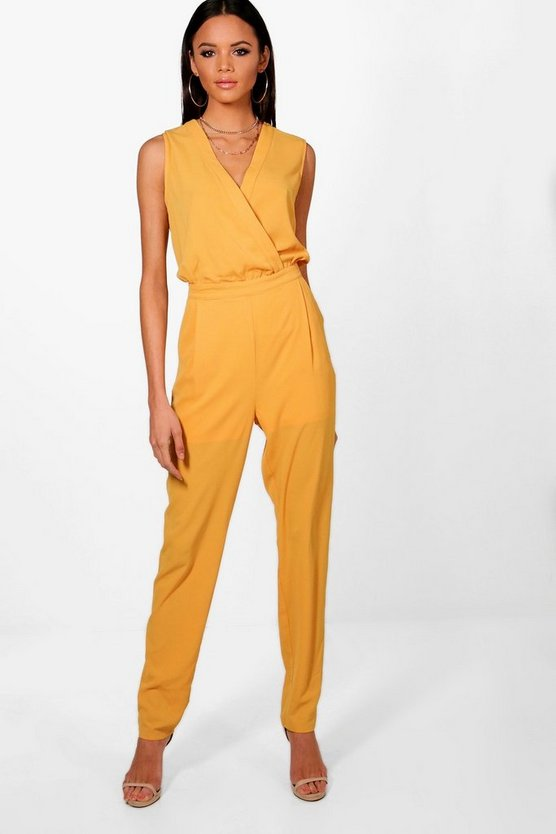 Tall Wrap Front Woven Jumpsuit