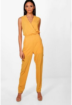 Womens Mustard Tall Wrap Front Woven Jumpsuit