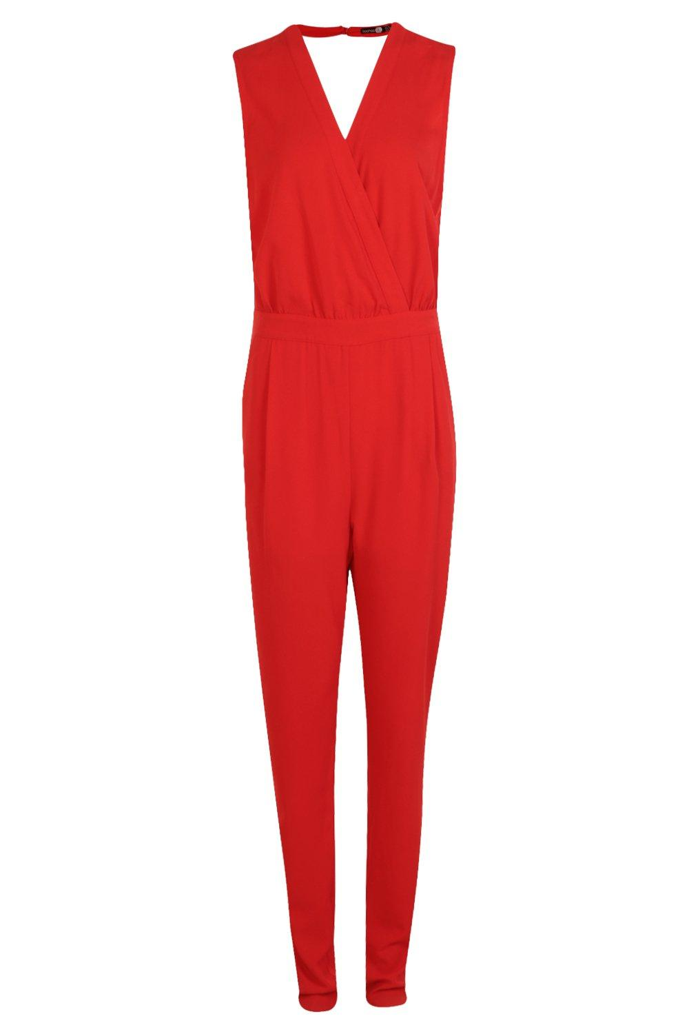 Jumpsuit Wrap red Front Tall Woven wtdOqx0q
