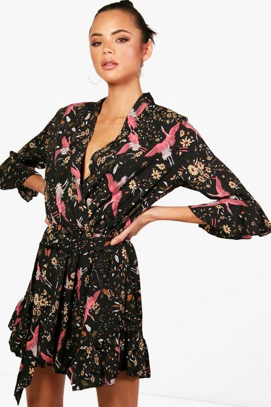 Womens Black Tall Oriental Print Ruffle Playsuit