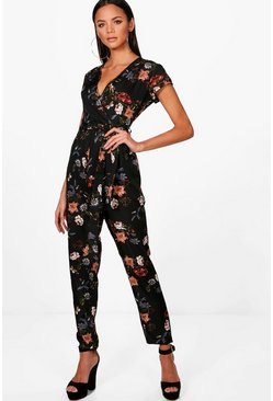 Tall Oriental Print Jumpsuit, Black, Donna