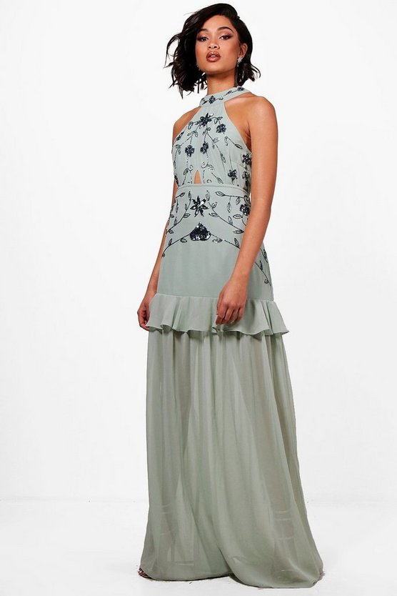 Tall Boutique Halterneck Maxi Dress, Mint, FEMMES