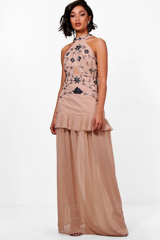Tall Boutique Halterneck Maxi Dress, Nude, FEMMES