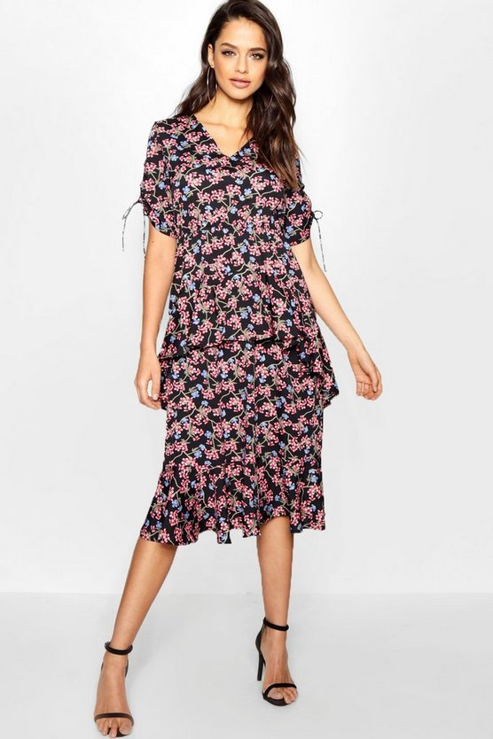 Tall Ditsy Floral Ruffle Midi Dress