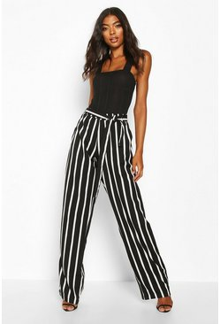 Tall Wide Leg Stripe Trousers, Black, Femme