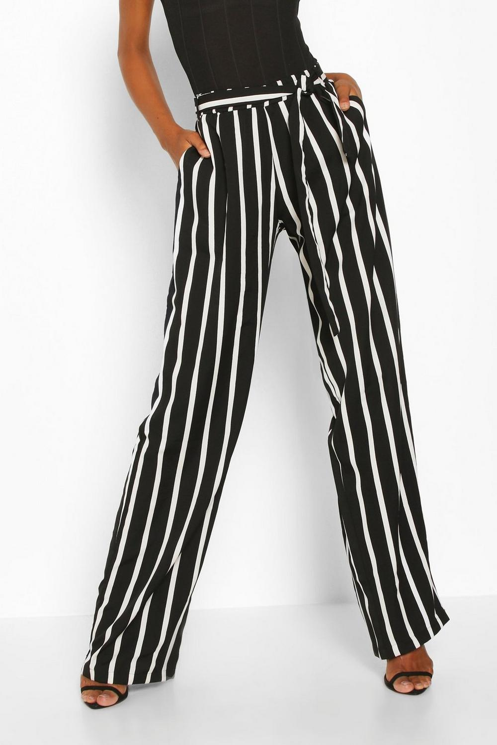 Wide Trousers Leg black Tall Stripe xS07XUwqS