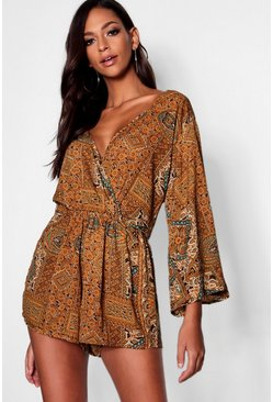 Tall Paisley Print Wrap Playsuit, Olive, Donna