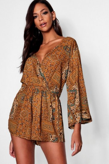 Olive Tall Paisley Print Wrap Playsuit