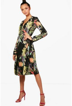 Womens Black Tall Floral Print Wrap Kimono Dress