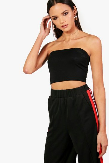 Womens Black Tall Jersey Bandeau