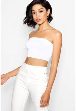 Womens White Tall Jersey Bandeau