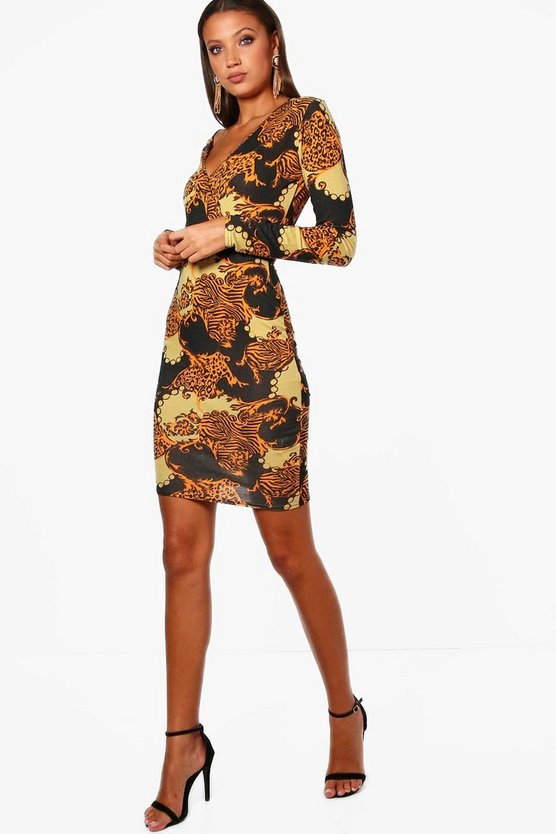 Tall Printed Wrap Front Dress