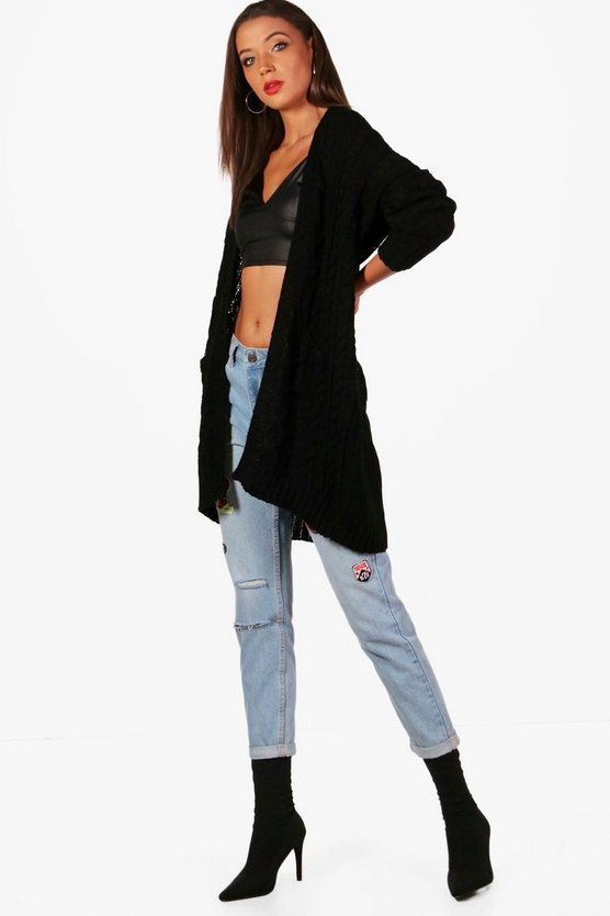 Tall Slouchy Cable Cardigan