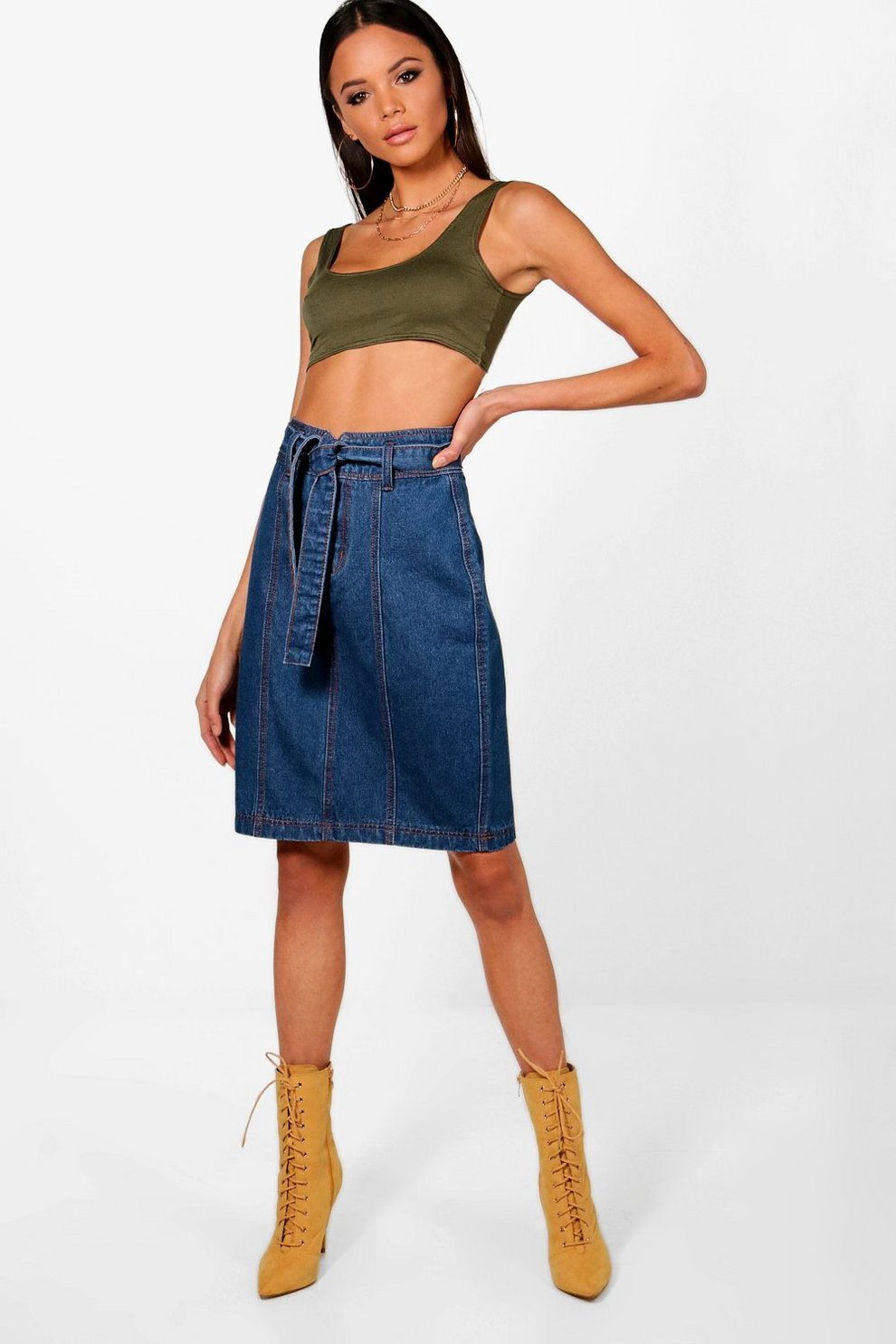 ac3eb6f6aa Womens Mid blue Tall Paperbag Waist Denim Skirt. Hover to zoom