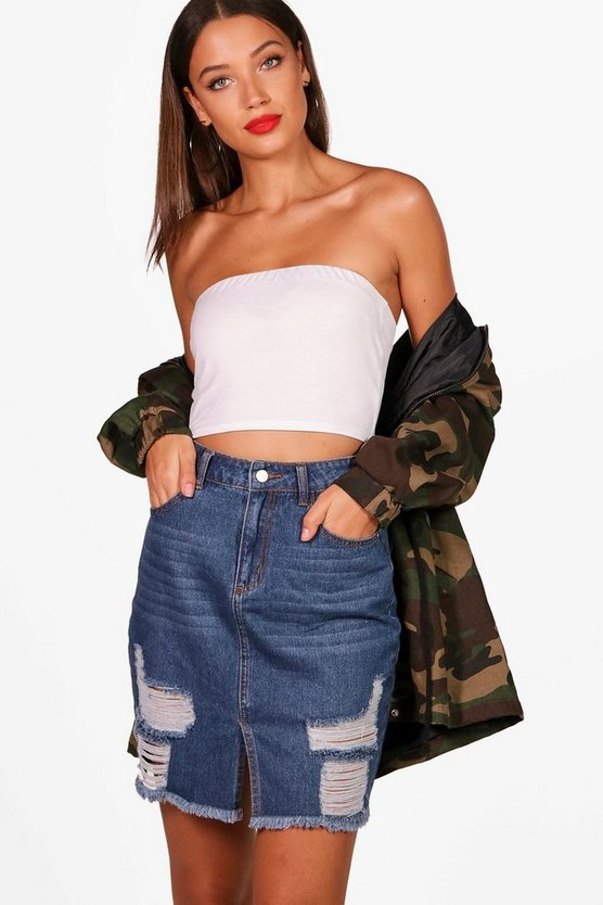 Tall Harley Distressed Western Midi Denim Skirt