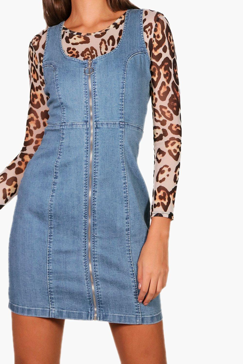 Bodycon Front Dress Zip Tall Denim nCwYq4z1
