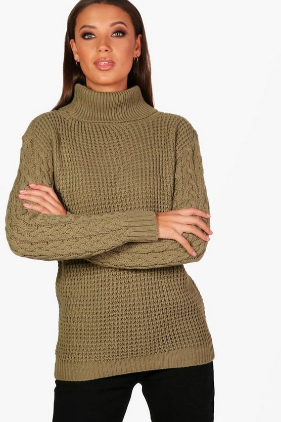 Tall Cable Sleeve Turtle Neck Jumper
