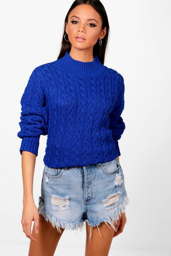 Womens Cobalt Tall Cable Knit Jumper