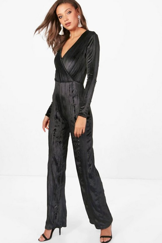 Tall Katie Pleated Velvet Wide Leg Wrap Jumpsuit