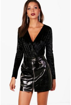 Black Tall  Crushed Velvet Wrap Bodysuit