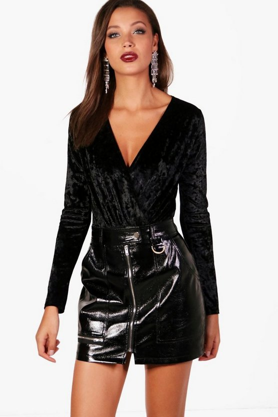 Womens Black Tall Crushed Velvet Wrap Bodysuit