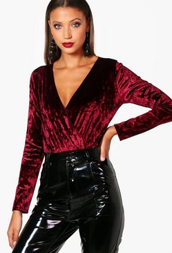 Wine Tall  Crushed Velvet Wrap Bodysuit