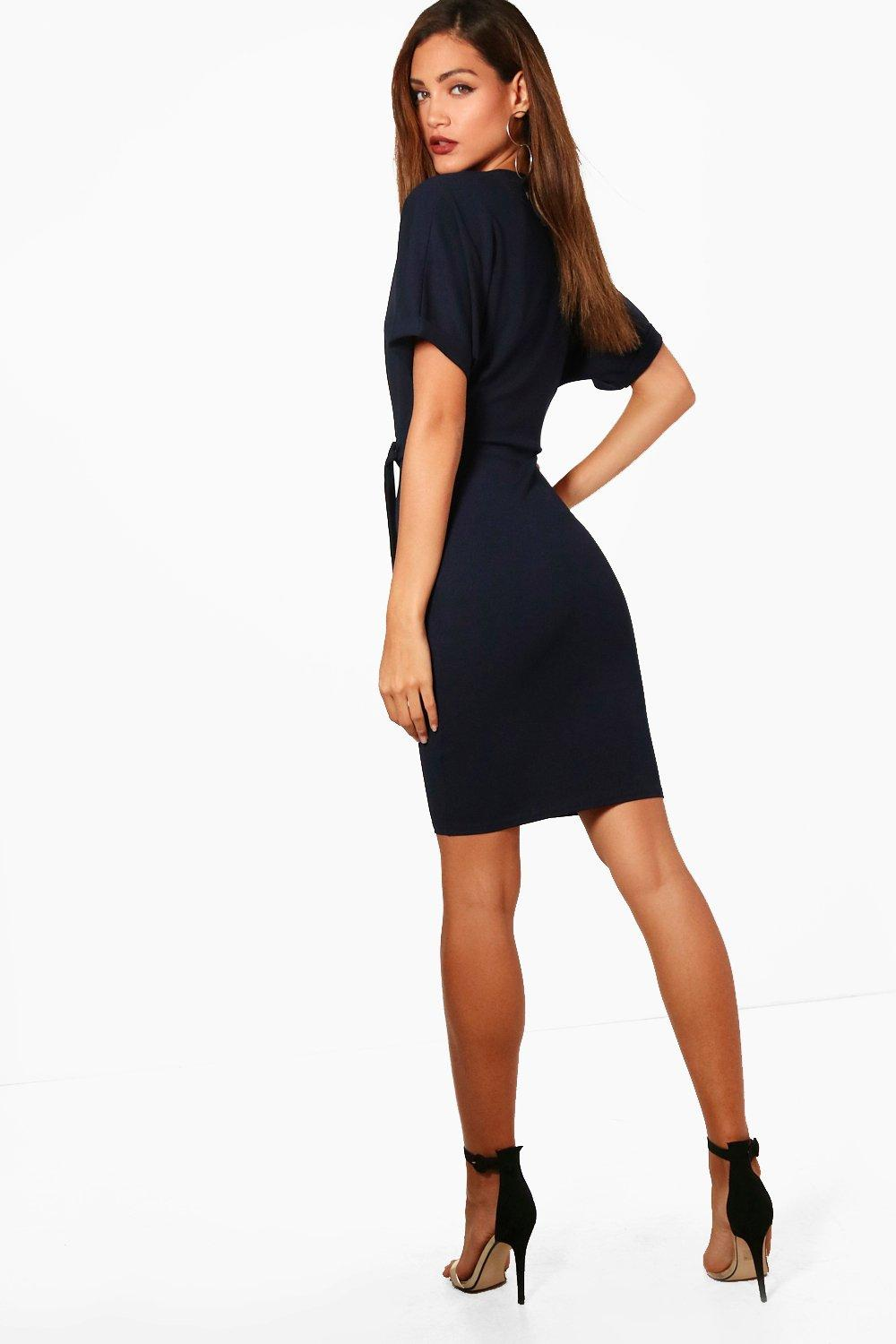 boohoo womens belted wrap dress ebay