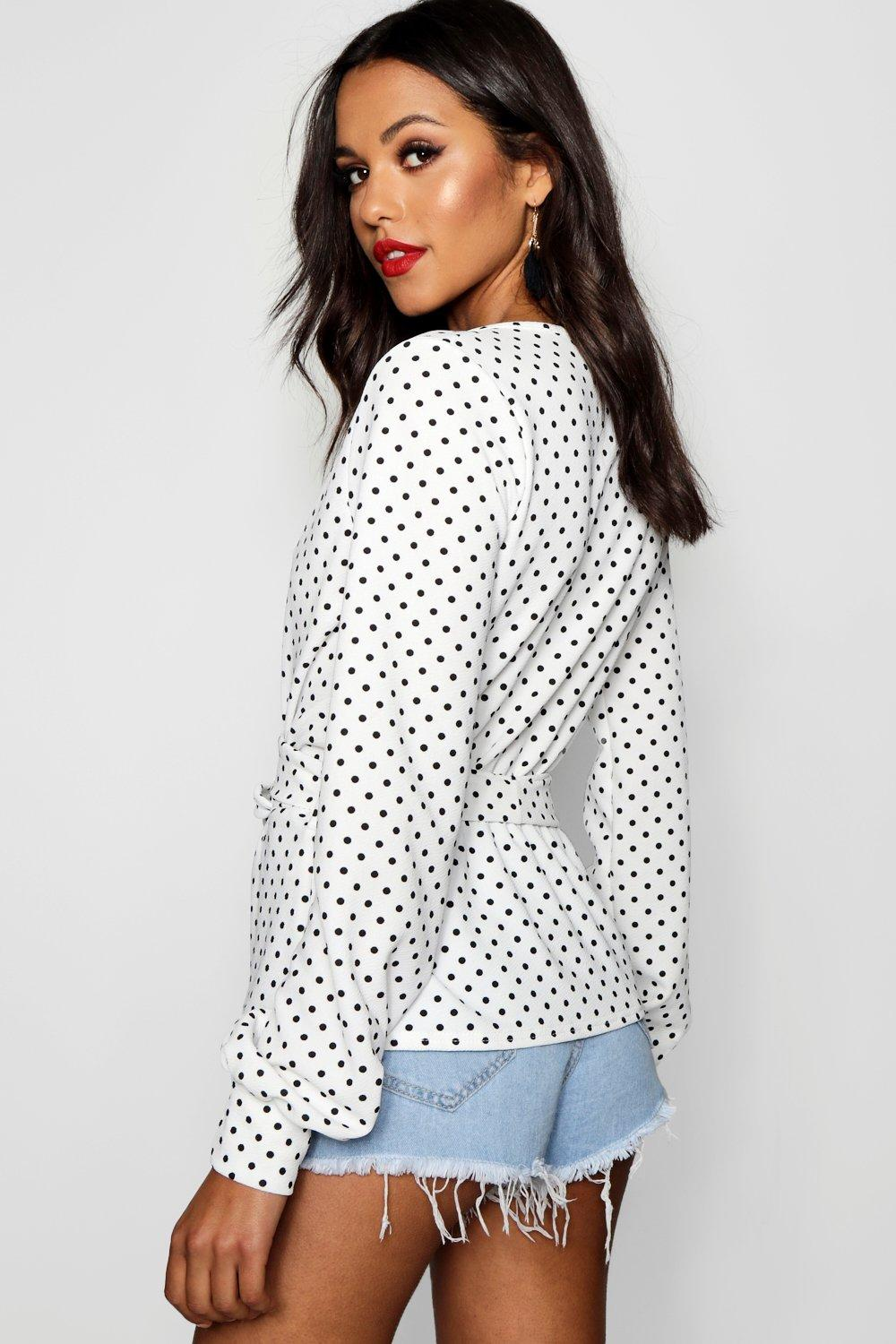 Tall Dot Polka Wrap Top Print Front white rqrCaZwd