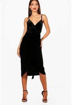Womens Black Tall Megan Wrap Velvet Dress