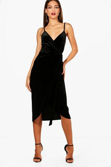 Black Tall Megan Wrap Velvet Dress