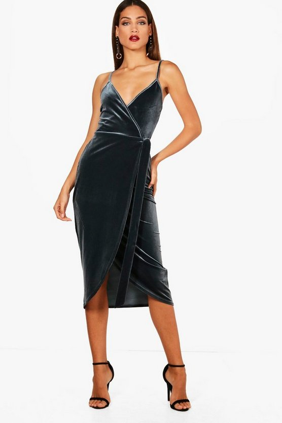 Womens Grey Tall Megan Wrap Velvet Dress