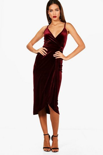 Womens Plum Tall Megan Wrap Velvet Dress