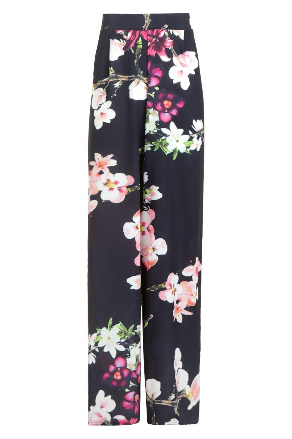 NEW-Boohoo-Womens-Tall-Oriental-Print-Wide-Leg-Trouser-in-Polyester