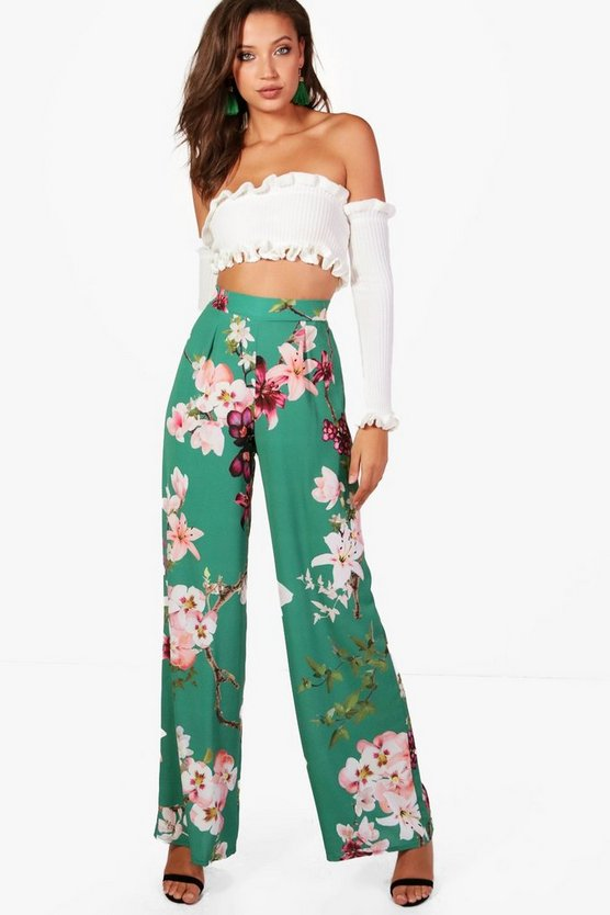 Tall Oriental Print Wide Leg Trouser