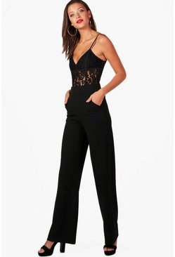 Womens Black Tall  High Waisted Wide Leg Trousers