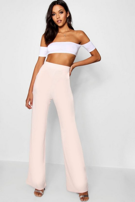 Womens Blush Tall  High Waisted Wide Leg Trousers