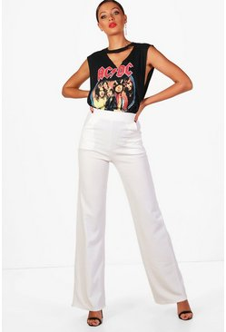 Cream Tall High Waisted Wide Leg Pants