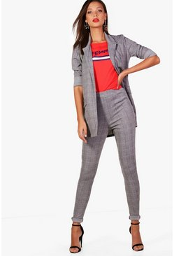 Womens Black Tall Check Tailored Pants