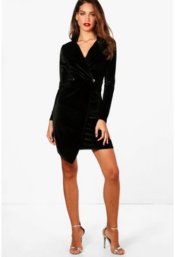 Black Tall Holly Velvet Blazer Dress
