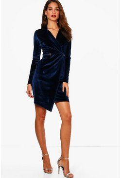Womens Navy Tall Holly Velvet Blazer Dress