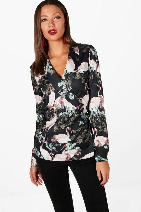 Tall Oriental Print Wrap Shirt