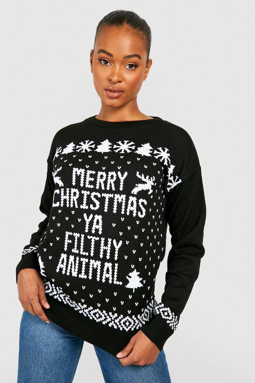 Tall Christmas Jumper Animal Filthy black vwqfrvR
