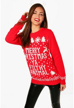 Red Tall Filthy Animal Christmas Jumper