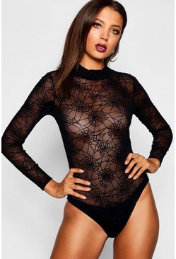 Tall Maisie Halloween Spider Web Mesh Bodysuit, Black, Donna