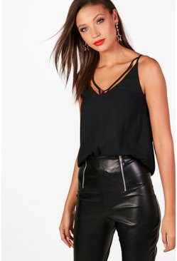 Womens Black Tall Strappy Woven Cami