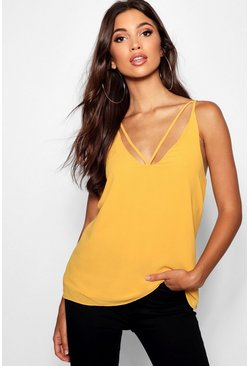 Womens Mustard Tall Strappy Woven Cami