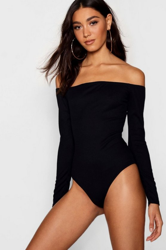 Womens Black Tall Off The Shoulder Rib Bodysuit